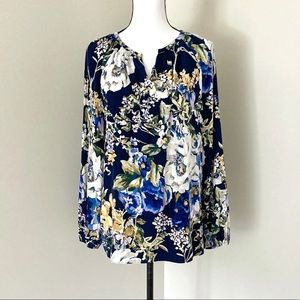 Chico's long sleeve floral blouse size M